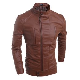 Wholesale Cheap Leather Brown Jackets - 2016 Top Selling Mens Leather Jackets and Coats Summer Style Cheap Street Casual Outwear Suede Coat For Men Free Shipping