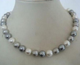 Wholesale Necklace Two One - Hot 9-10mm Tahitian Two Gray One White Pearl Necklace 18inch 925 Silver Clasp