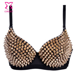 Wholesale Sexy Belly Bra - Punk Gold Rivet Studded Sujetadors Push Up Bra Top Sexy Belly Dance Club Underwear Spiked Bralette Bras For Women Brasier Mujer