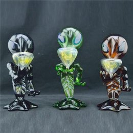 """Wholesale Green Aliens - Colored Alien Glass Smoking Pipes 8"""" inch Oil Burner Pipes Hand Tobacco Glass Pipes for Smoking Heady Glass Pipes for Smoking Cigarette"""