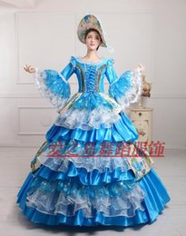 Wholesale Marie S - Wholesale-New Wine sky Blue 17 18th Century European Court Dress Marie Antoinette Dress no include crinoline