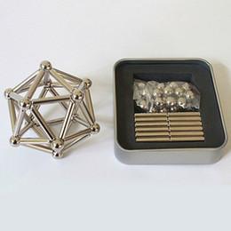 Wholesale magnetic cubes - Magnetic Puzzle Neodymium Magnetic rods 36pcs D4mm x L23mm magnetic bars + 27pcs D8mm steel balls OTH627
