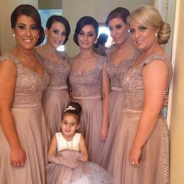 Wholesale Hot Couture Evening Dresses - Amazing Hot Selling Elegant Norma Bridal Couture Blush Sheath Bridesmaid Dresses V-Neck Cap Sleeve Appliques Formal Evening Dresses