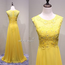 Wholesale Pink Eye Photos - Eye Catching yellow Bridesmaid Dresses Chiffon with Applique Beads Zipper Back Long arabic dresses Cheap 2017