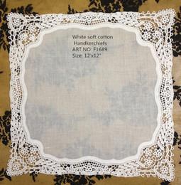 """Lenços de renda feminina on-line-Têxteis de casa Novo estilo Francês lace edges 12 Pçs / lote 12 """"x 12"""" branco 100% algodão Fino edging lenços Das Senhoras Melhor qualidade para a noiva"""