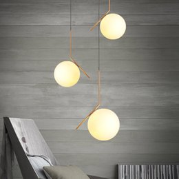 Wholesale North Europe Lighting - north Europe LED Glass globe pendant light restautant bedroom living room pendant lights AC85-265V light fixture