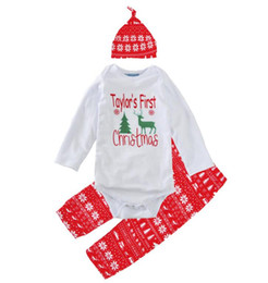 boys preppy suits Promo Codes - Christmas wholesale outfits kid clothes Taylor's first Chirsmas hat+ romper + pants 3 pieces oufit long sleeve cotton suit green tree 3M-24M