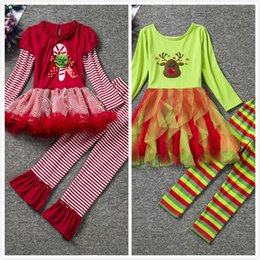 Wholesale Tiered Pants Wholesale - New Children Christmas Special Occasions Girls New Year Long Sleeve Dress + Pants Baby Cotton Lace T Shirts Trousers Top Botton Clothing Set
