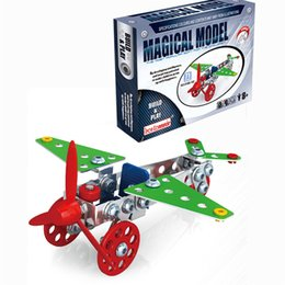 Wholesale Built Aircraft Models - Hot DIY 3D metal aircraft model Children's puzzle metal assembled hand assembled building blocks free shipping