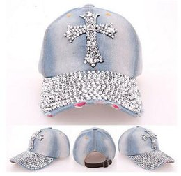 Wholesale Rhinestone Cowboy - 56-62cm women Fashion hotfit rhinestone hat cross cowboy cap Cross drill rhinestone cowboy baseball cap peaked cap snaphat drop shipping
