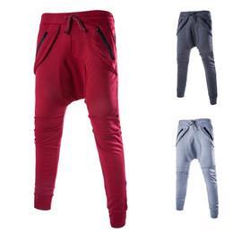 Wholesale Diagonal Zipper - 2016 spring England hip hop style Diagonal zipper low cross-pants men pants men Knitting sweatpants for men,M-2XL