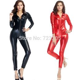 Wholesale Wetlook Bondage - Wholesale-Black Red High Quality Women Sexy PU Leather Catsuit Wetlook Paint Leather Bondage Jumpsuit Catwoman Costume Exotic Clubwear XL
