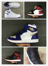 Wholesale Red I - With box 1 I High chicago coin Gold medal blue white men basketball shoes mens sports shoes trainers sneakers wholesale 7-13