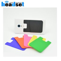 Wholesale Transparent Cards Wallet - Elastic silica Cell Phone Wallet Case Credit ID Card Holder Pocket Stick On 3M Adhesive Black Blue Pink Green Yellow