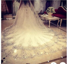 Wholesale Wedding Cathedral Veils Crystals - Luxury Bling Bling Wedding Veils Custom made Muslim Women Wedding Dresses Bridal Accessries With Beads Crystal Applique 2018