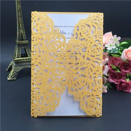 Wholesale Gold Chinese Wedding Invitations - Wedding Invitations Cards Customized Inner Sheet Laser Cutting Party Invitation Flowers Hollow Out Wedding Cards Free Shipping