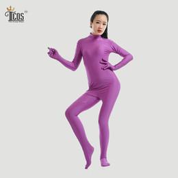 Wholesale Pink Unitard - Wholesale-Violet Headless Zentai Bodysuit Women Second Skin Footed Full Body Tights Suit Cosplay Dancewear Turtleneck Unitard