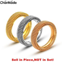 Wholesale Mesh Rings - 4mm Classic High Polish stainless steel Lovers Rings Rose Gold Silver Girls Couples Braid Mesh Ring Size 5 to 10 R725