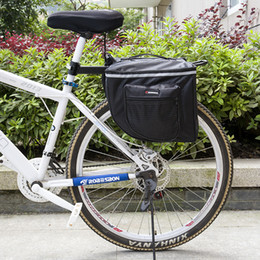 Wholesale Double Pannier Bag - Black Cycling Bicycle Saddle Bag Bike Bags PVC and Nylon Waterproof Double Side Rear Rack Tail Seat Bag Pannier Bicycle Accessories