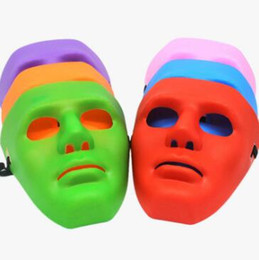 Wholesale Dance Costume Hip Hop - 5 Colors Hip Hop Street Dance Mask Adult Men's Full Face Party Mask Costume Masquerade Ball Plastic Plain Thick Masks CCA7258 200pcs