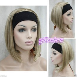 100% livraison gratuite New High Quality Fashion Picture Indien Mongol wigsLadies Light Brown Blonde Mélangé avec bandeau Femmes 3/4 demi perruque C ? partir de fabricateur