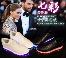 Wholesale Luminous Shoes - 7 Colors Luminous Led Shoes For Women & Men USB Charging Light Shoes Colorful Glowing White Black Couples Sneakers Eur Size 35-44