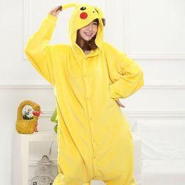 Wholesale pikachu onesies - New autumn and winter Pikachu cartoon piece pajamas flannel cute couple pajamas