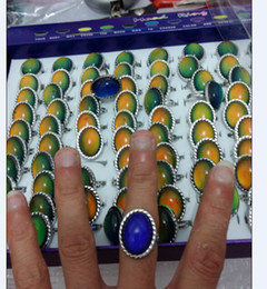 Wholesale Mood Ring Color Change - fashion hight quality Charming Large oval mood rings change color ring Female fashion opening ring 100pcs lot