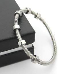Wholesale Silver Thread Bracelet - Factory price 2017 new 6 screw Bracelets men and women lovers thread titanium bracelet