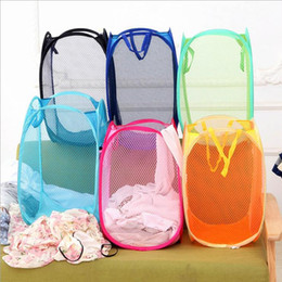 Wholesale pop up laundry - Mesh Fabric Foldable Pop Up Dirty Clothes Washing Laundry Basket Bag Bin Hamper Storage for Home Housekeeping Use Storage Baskets 2017 Style