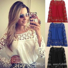 Wholesale Lady Blouse Red - 2016Spring Ladies Floral Full Sleeve Chiffon Blouse Lace Top Shirt Blouse Women Clothing Plus size