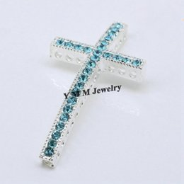 Wholesale Rhinestone Connectors For Bracelets - Silver Plated Sideways Cross Connectors With Lake Blue Rhinestone For Bracelets Making