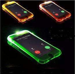 notas de caso Desconto Para iphone 7 case chamadas recebidas flash up casos de luz led cintura pequena transparente limpar capa para iphone 5s se 6 s 7 plus samsung note 5 s7