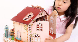 Wholesale House Design Build - 3 d puzzle paper manually assembled diy model villa hut house children toy girl beautiful and unique design