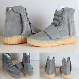 Wholesale Glow Crosses - Cheap Discount Kanye West Boost 750 Light Grey Gum Glow Gum In Dark New Version Boots 750 Pirate Blackout Men's High Top Sneakers Kids shoes