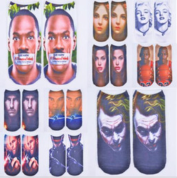 Wholesale Green Jobs - Fashion 3D Graphic famous Star celebrity Socks Job 23 Robcop Wade printing Men sock Funny movie pirate Jason Tube socks slipper