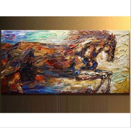 Wholesale Modern Painting Horses - NEW-Large 100% Hand-painted Animal Oil Painting on Canvas Impression Horse Home Wall Decor Art Modern Abstract Paintings No Frame B66