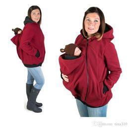 Wholesale Long Maternity Winter Coats - Baby Carrier Kangaroo Coats Pullover Winter Hoodies Fleece Babywearing Kangaroo Maternity Outerwear Jacket Sweatshirts B0810