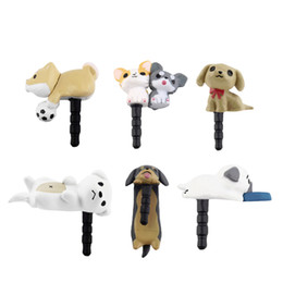 Wholesale Cute Anti Dust Plugs - Niconico Nekomura Universal Cute Puppy Dog 3.5mm Anti Dust Earphone Jack Plug Stopper Cap For Phone Ear Dock Accessory Wholesale