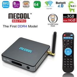 Wholesale Mini Wifi 3g - DDR4 MECOOL BB2 PRO Android 7.1 Smart TV Box Amlogic S912 UHD 4K 3G 16G BT4.0 Mini PC Dual WiFi 1000M LAN H.265 OTA Media Player