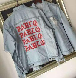 Wholesale Life Jackets Pockets - New Pablo Kanye West Denim Jackets Men The Life Of Pablo kanye Yeezus Denim Jeans Oversized Denim Jacket Coats S-XL