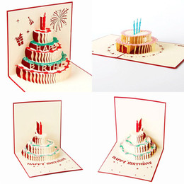 Wholesale Cards Design Handmade - New Handmade Kirigami & Origami 3D Pop UP Birthday Cards with Candle Design For Birthday Party Free Shipping