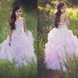 Wholesale toddler formal wear pageant dress - Lavender Princess Girls Pageant Dresses Sweetheart Crystal Flower Girl Dresses For Toddlers Teens Kids Formal Wear Communion Dress