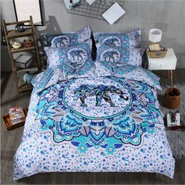 Wholesale King Size Luxury Comforter Sets - India 3D elephant comforter bedding sets printing Luxury Bohemian duvet cover set queen king Size bed sets bed line 3 4 Pcs