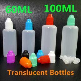 Wholesale E Liquid Tips - 60ml 100ml E-Cig E Liquid Bottles LDPE Plastic Dropper Translucent PE Empty E Juice Bottle Colorful Child Proof Caps Long Thin Dropper Tips