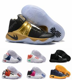 Wholesale Usa Women - New Kyrie 2 Black Gold Champion USA Triple Black Crossover Cavs Wolf Grey Kyrie Irving Women Men Basketball Shoes Sneakers