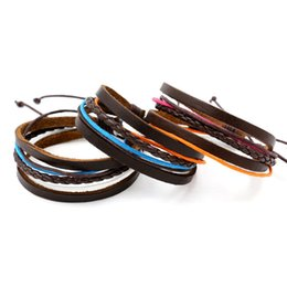 Wholesale cheap gift wrapping - Hot Sale Infinity Bracelets Handmade Colorful Braided Rope Leather Bracelets Bangles Multilayer Wrap Wristband Fashion Wrist Jewelry Cheap