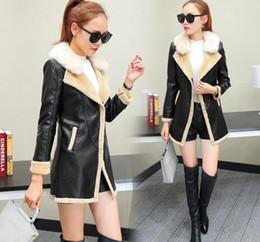 Wholesale Thin Leather Jacket Xxl - High Level Winter Warm Coat New Korean Slim Thin lambs Wool Plus Cashmere Coat Long Fur Coat PU Leather Women Jacket M-XXL Free Ship HFY33