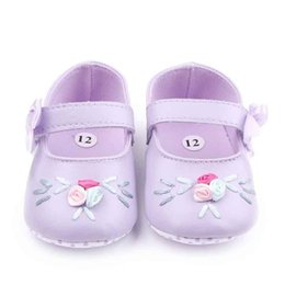 Wholesale Green Flower Girl Shoes - New Arrival Toddler Walking Shoes for Girl Purple Green Leather Upper with Flower Embroidery Bowknot Hook&loop Band Anti-slip Soft Sole