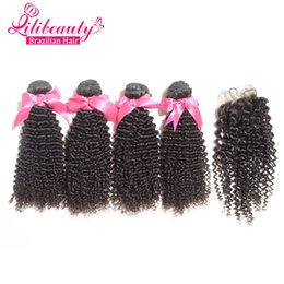 Wholesale Cheap 5pcs Curly Hair - 7A Cheap Brazilian Curly Virgin Hair With Closure,Hair Bundles With Lace Closures 5pcs Lot Human Hair Kinky Curly With Closure
